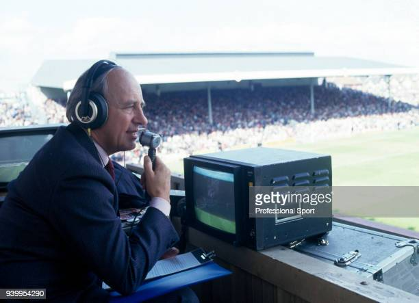 ITV commentator Brian Moore in action at Highbury in London circa 1988