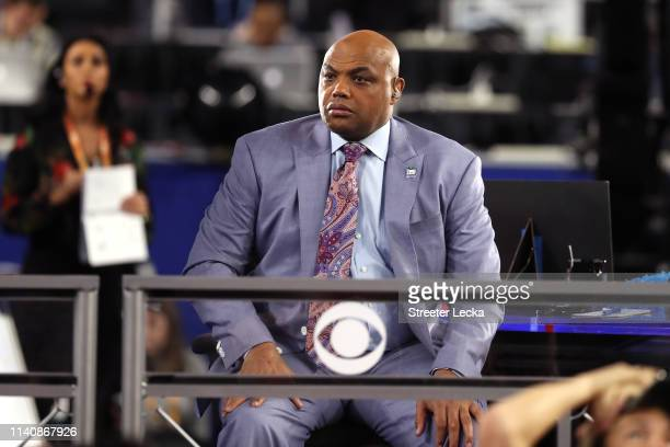 CBS commentator Charles Barkley looks on during the 2019 NCAA Final Four semifinal between the Auburn Tigers and the Virginia Cavaliers at US Bank...