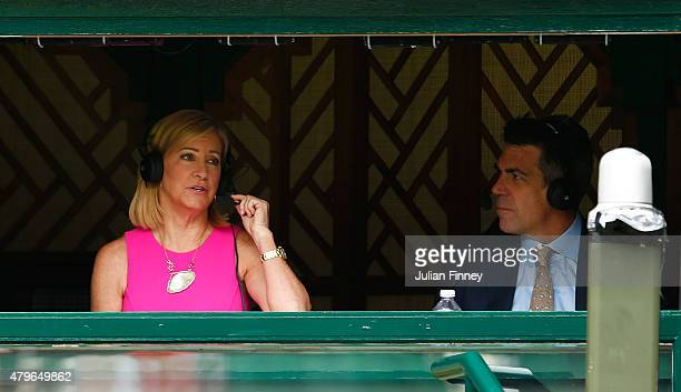 Commentator Chris Evert on Centre Court during day seven of the Wimbledon Lawn Tennis Championships at the All England Lawn Tennis and Croquet Club...