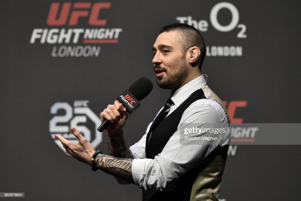 UFC commentator Dan Hardy interacts with fans during a Q&A session before the UFC Fight Night weigh-in inside The O2 Arena on March 16, 2018 in London, England.