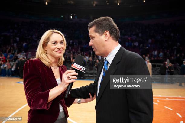 ESPN commentator Doris Burke interviews head coach John Calipari of the Kentucky Wildcats at Madison Square Garden on December 9 2009 in New York City