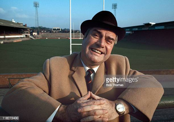 BBC commentator Eddie Waring who became well known as 'the voice of Rugby League' pictured in an unidentified stadium circa 1970