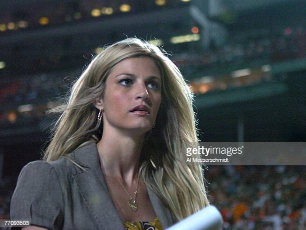 Commentator Erin Andrews of ESPN reports from the sidelines as the University of Miami Hurricanes host the Texas AM Aggies at the Orange Bowl on...