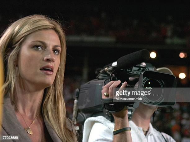 Commentator Erin Andrews of ESPN reports from the sidelines as the University of Miami Hurricanes host the Texas A&M Aggies at the Orange Bowl on...