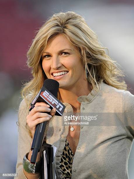 ESPN commentator Erin Andrews reports as the Pittsburgh Panthers upset the University of South Florida Bulls at Raymond James Stadium on October 2...