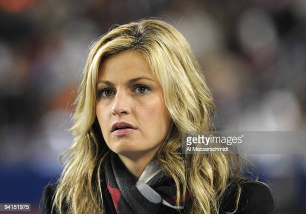 ESPN commentator Erin Andrews watches play as the Georgia Tech Yellow Jackets play against the Clemson Tigers in the 2009 ACC Football Championship...