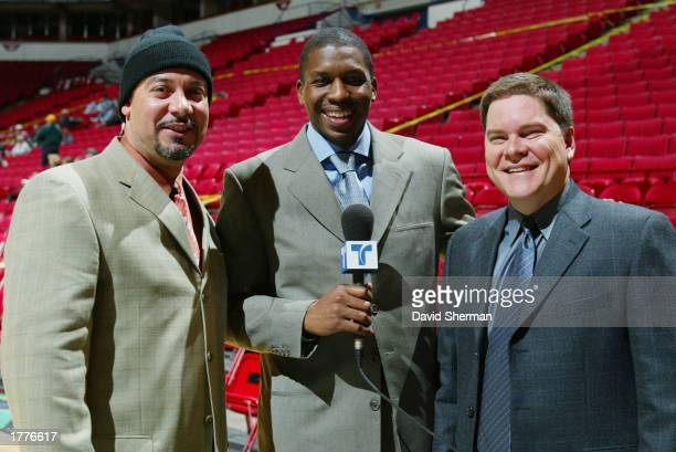 Commentator for the Spanish language Telemundo Network Edgar Lopez stands next to guest commentator Felipe Lopez of the Minnesota Timberwolves and...