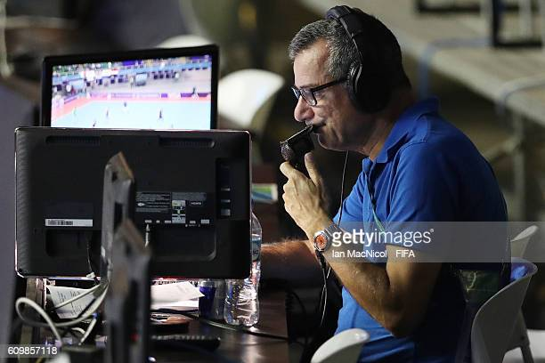 Commentator Gary Bloom is seen during the FIFA Futsal World Cup Round of 16 match between Italy and Egypt at the Coliseo el Pueblo Stadium on...