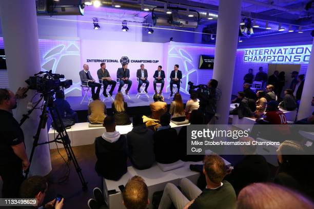 Commentator Grant Members of the 1994 US World Cup team Alexi Lalas Tony Meola Claudio Reyna Tab Ramos and Cobi Jones speak during 'Home Field...