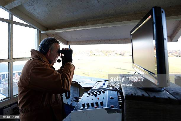 Commentator Ian Bartlett at Leicester racecourse on February 24 2015 in Leicester England