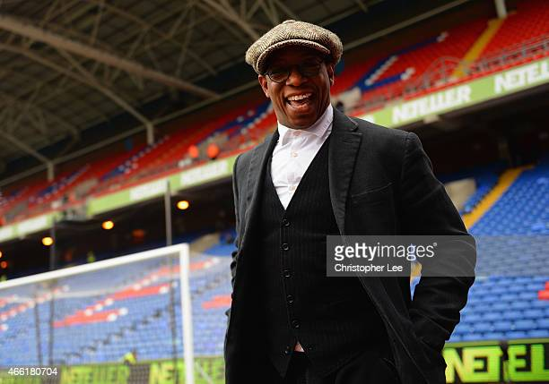 Commentator Ian Wright smiles prior to the Barclays Premier League match between Crystal Palace and Queens Park Rangers at Selhurst Park on March 14,...