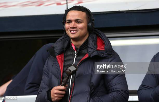Commentator Jermain Jenas looks on prior to the Premier League match between Tottenham Hotspur and Stoke City at White Hart Lane on February 26 2017...