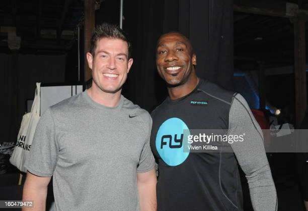 Commentator Jesse Palmer and former NFL player Shannon Sharpe attend The Flywheel Challenge at the NFL House hosted by Shannon Sharpe at The Chicory...