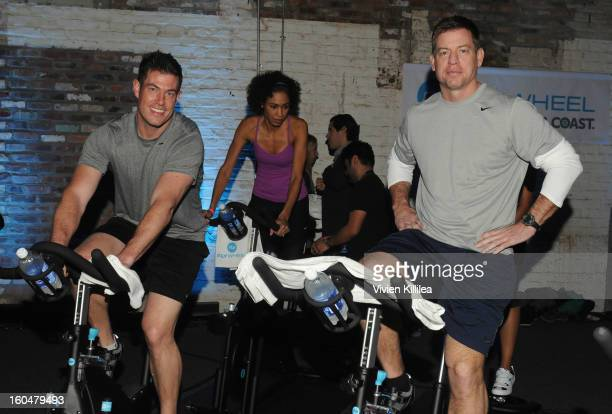 Commentator Jesse Palmer and former NFL player Troy Aikman attend The Flywheel Challenge at the NFL House hosted by Shannon Sharpe at The Chicory on...