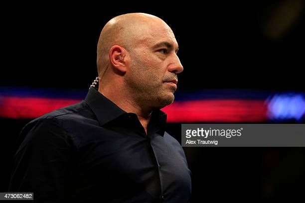 Commentator Joe Rogan looks on during the UFC Fight Night event at Prudential Center on April 18 2015 in Newark New Jersey