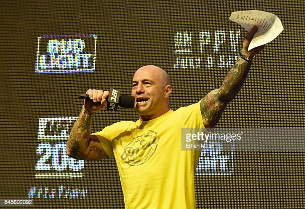 Commentator Joe Rogan speaks during weighins for UFC 200 at TMobile Arena on July 8 2016 in Las Vegas Nevada