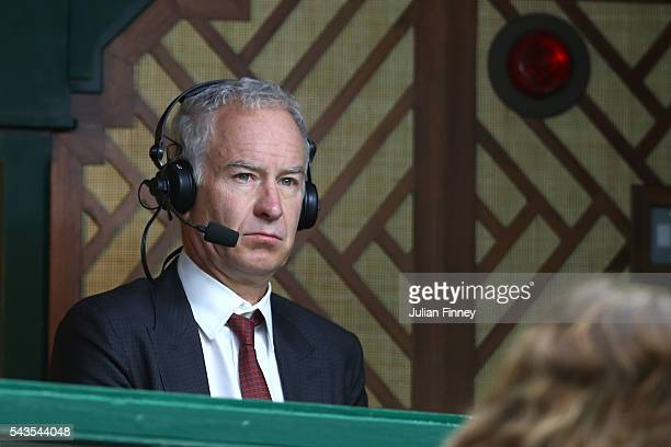 Commentator John McEnroe looks on during the Men's Singles second round match between Novak Djokovic of Serbia and Adrian Mannarino of France on day...