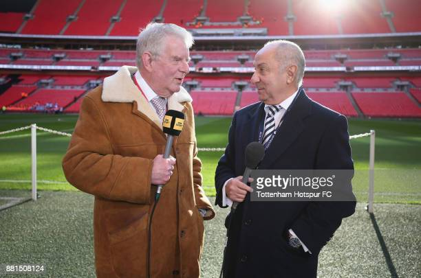 BBC commentator John Motson and former Tottenham player Ossie Ardiles during the Premier League match between Tottenham Hotspur and West Bromwich...