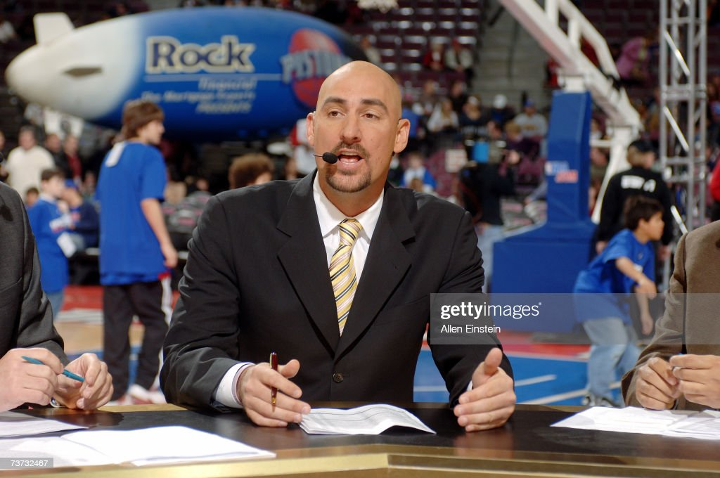 ESPN commentator Jon Barry talks before the NBA game between the Dallas Mavericks and the Detroit Pistons at The Palace of Auburn Hills on March 18, 2007 in Auburn Hills, Michigan. The Mavericks won 92-88.