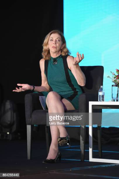 Commentator Kathrine Switzer speaks onstage during the WICT Leadership Conference at Marriott Marquis Times Square on September 25 2017 in New York...