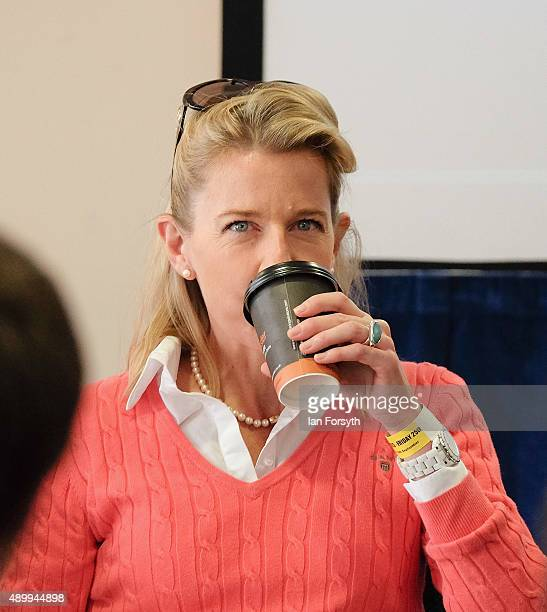 Commentator Katie Hopkins takes a sip of a hot drink during the UK Independence Party annual conference where she spoke to a fringe group about...