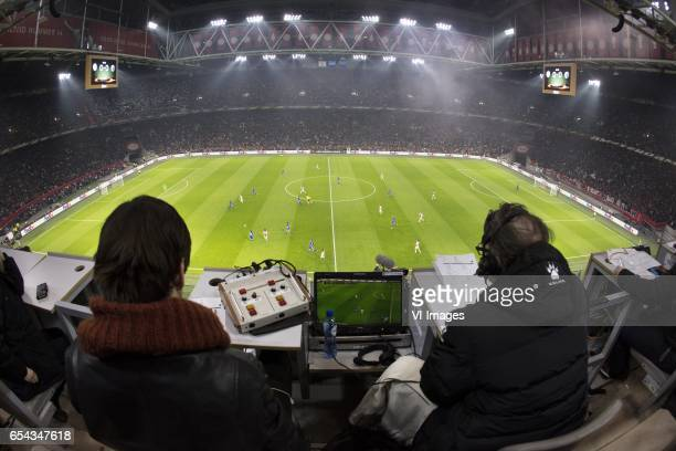 commentator Leo Driessenduring the UEFA Europa League round of 32 match between Ajax Amsterdam and FC Copenhagen at the Amsterdam Arena on March 16...