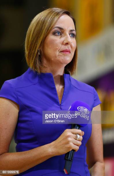 Commentator Liz Ellis during the round four Super Netball match between the Lightning and the Giants at University of the Sunshine Coast on March 11...