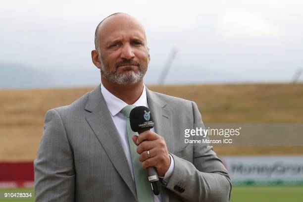 Commentator Mark Butcher looks on ahead of the ICC U19 Cricket World Cup match between India and Bangladesh at John Davies Oval on January 26, 2018...