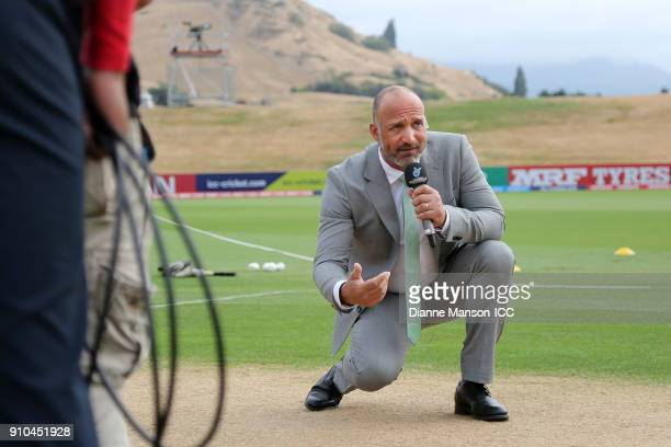 Commentator Mark Butcher on air ahead of the ICC U19 Cricket World Cup match between India and Bangladesh at John Davies Oval on January 26, 2018 in...