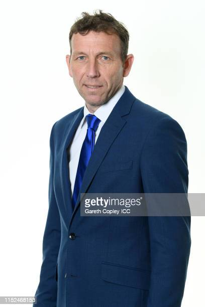 Commentator Michael Atherton poses for a portrait prior to the ICC Cricket World Cup 2019 at on May 29 2019 in London England