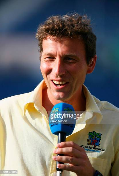Commentator Michael Atherton talks after the ICC Cricket World Cup Super Eights match between England and Bangladesh at the Kensington Oval on April...