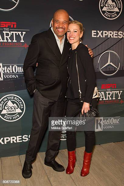 Commentator Michael Wilbon and anchor Lindsay Czarniak arrive at the annual ESPN The Party at Fort Mason Center on February 5 2016 in San Francisco...