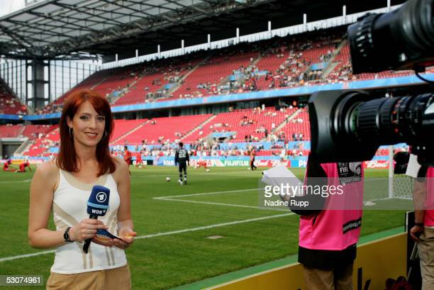 Commentator Monica Lierhaus of TVchannel ARD in action during the FIFA Confederations Cup Match between Argentina and Tunisia on June 15 2005 in...