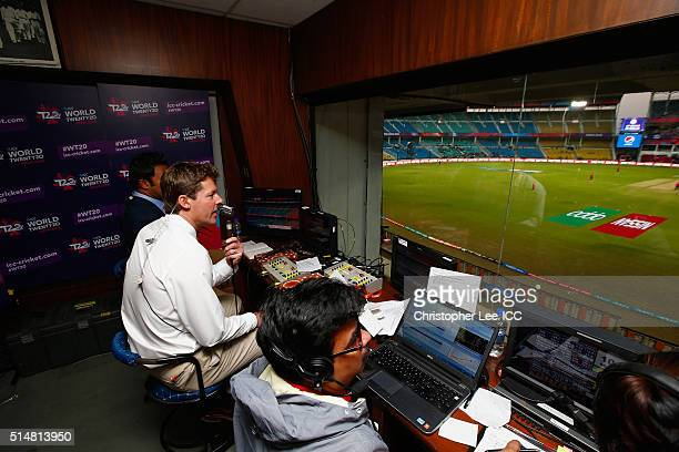 Commentator Nick Knight in action during the ICC Twenty20 World Cup Round 1 Group B match between Scotland and Zimbabwe at the Vidarbha Cricket...