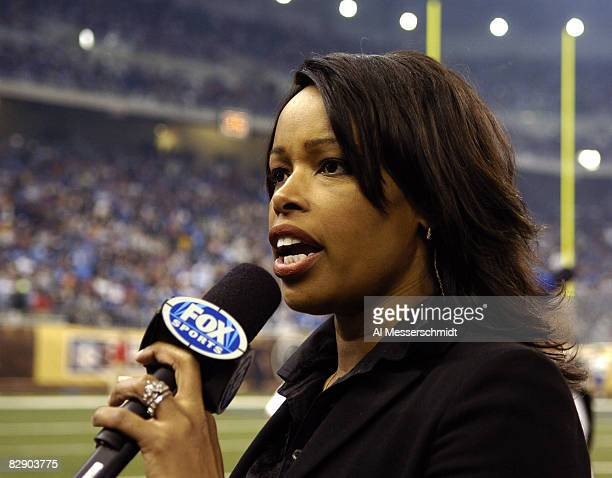 FOX commentator Pam Oliver on the sidelines during a Thanksgiving Day game November 24 at Ford Field Detroit The Falcons defeated the Detroit Lions...