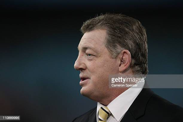 Commentator Phil Gould talks during the round three NRL match between the Parramatta Eels and the South Sydney Rabbitohs at ANZ Stadium on March 25,...