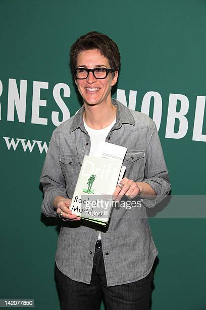 """Commentator Rachel Maddow promotes the new book """"Drift The Unmooring of American Military Power"""" at the Barnes & Noble Union Square on March 29, 2012..."""