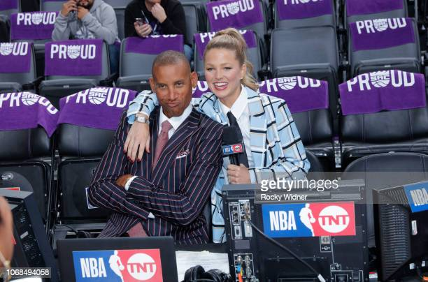 Commentator Reggie Miller and reporter Allie LaForce pose for a photo prior to the game between the Los Angeles Clippers and Sacramento Kings on...