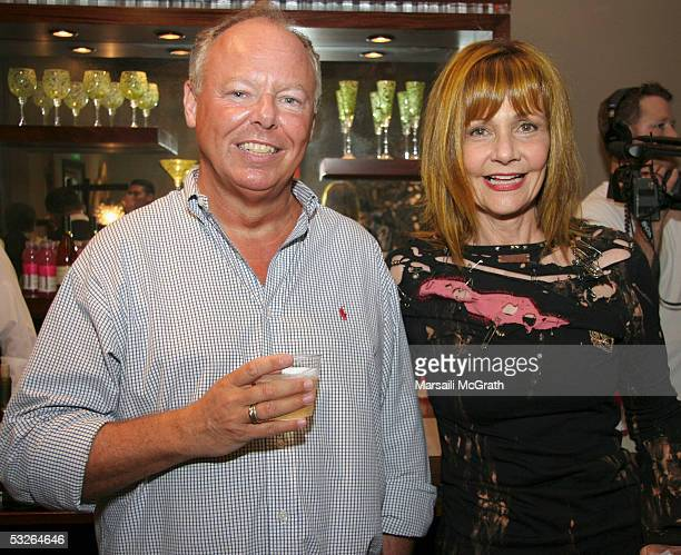 Commentator Richard Mineards and Hollywood gossip columnist Janet Charlton at the MAC cosmetics party for cartoon character Eve Kitten at Phyllis...