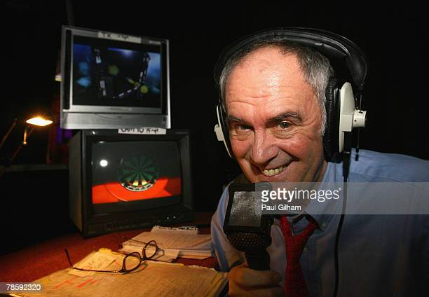 Commentator Sid Waddell poses before the the first round match between Phil Taylor of England and Michael van Gerwen of Netherlands during the 2008...