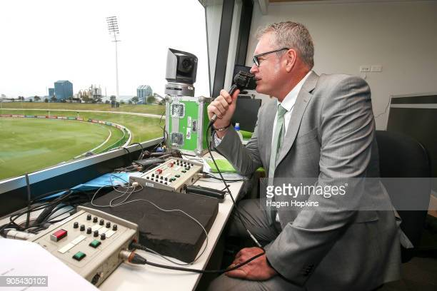 Commentator Tom Moody during the ICC U19 Cricket World Cup match between India and Papua New Guinea at Bay Oval on January 16 2018 in Tauranga New...