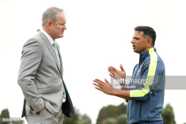 Commentator Tom Moody speaks to coach Rahul Dravid of India during the ICC U19 Cricket World Cup match between India and Papua New Guinea at Bay Oval...