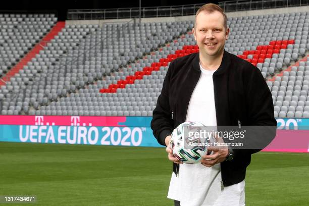 Commentator Wolff-Christoph Fuss is seen on the pitch during the the Magenta TV EURO 2020 Media Day at Allianz Arena on May 11, 2021 in Munich,...