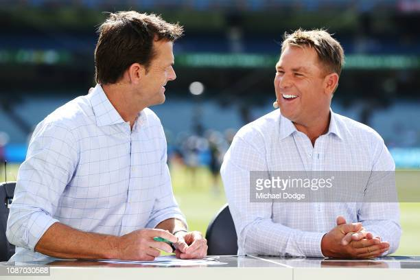 Commentators Adam Gilchrist and Shane Warne are seen during day two of the Third Test match in the series between Australia and India at Melbourne...