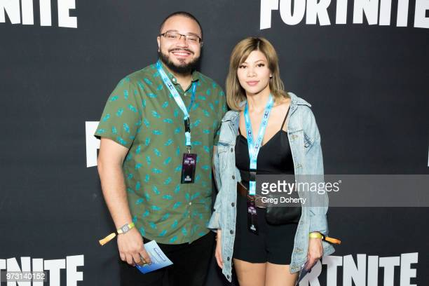 Commentators Alex GoldenBoy Mendez and Kassie Gloom Isabelle attend the Epic Games Hosts Fortnite Party Royale on June 12 2018 in Los Angeles...