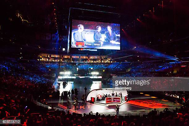 Commentators are seen on a screen during the League of Legends World Championship at the Staples Center in Los Angeles California US on Saturday Oct...