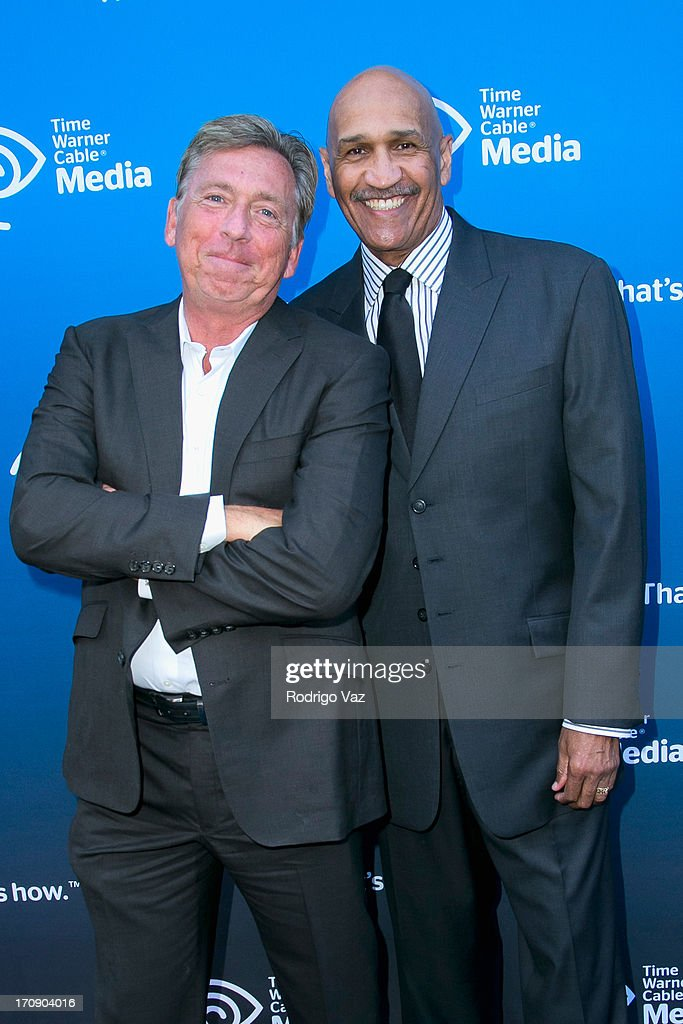 Commentators Bill MacDonald (L) and Stu Lantz attend the Time Warner Cable Media (TWC Media) 'View From The Top' Upfront at Vibiana on June 19, 2013 in Los Angeles, California.