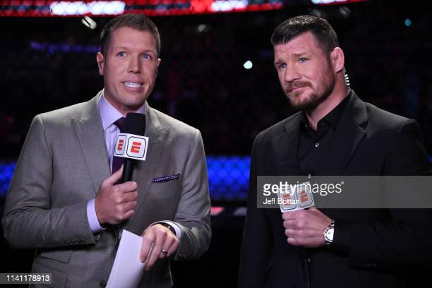 UFC commentators Brendan Fitzgerald and Michael Bisping anchor the broadcast during the UFC Fight Night event at Canadian Tire Centre on May 4 2019...