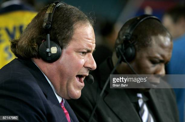 ESPN commentators Chris Berman and Tom Jackson speak after the New England Patriots defeated the Philadelphia Eagles in Super Bowl XXXIX at Alltel...