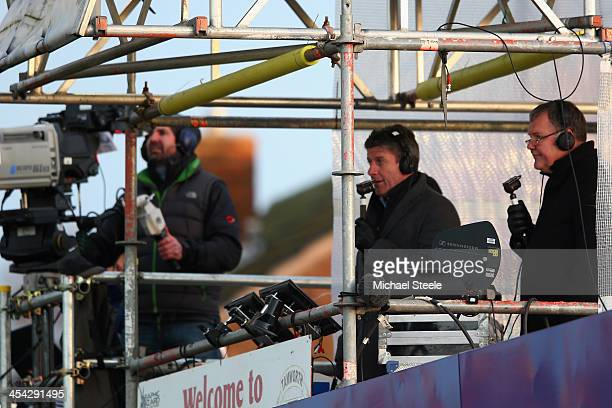 ITV commentators Clive Tyldesley and Andy Townsend during the FA Cup Second Round match between Tamworth and Bristol City at The Lamb Ground on...